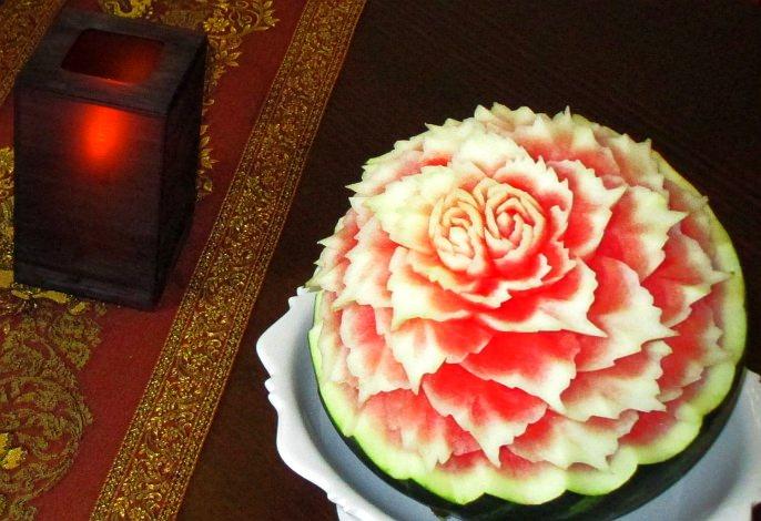 Wassermelonen   Obst- & Gemüseschnitzereien im Thai Tawan - Thailändisches Restaurant im Breisgau b. Europa-Park Rust